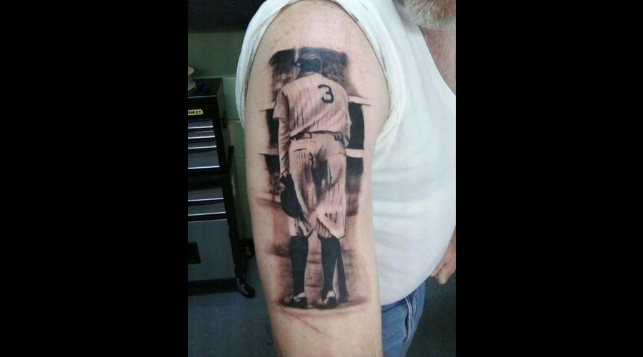 Black And Grey   Portrait   Babe Ruth  Realistic Tattoo Black Grey Arm