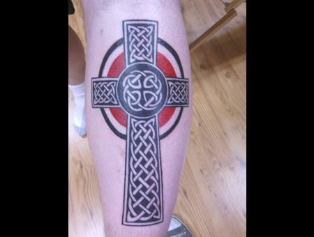 Celtic Cross  Cross Tattoo  Celtic Tattoos Color Lower Leg