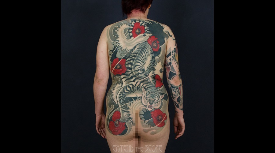 Tiger  Japanese  Oriental  Poppy  Flower  Cover Up Black Grey Back