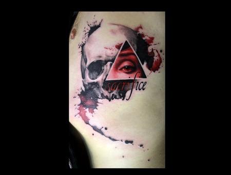 Watercolor  Trashpolka  Skull  Eye  Sacrifice  Ribs  Color  Black And Red Color Ribs