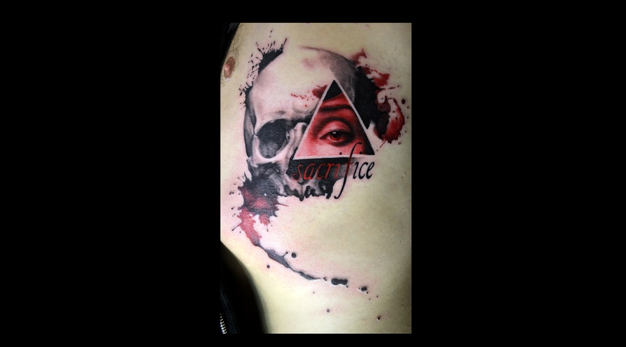 Watercolor  Trashpolka  Skull  Eye  Sacrifice  Ribs  Color  Black And Red Color Ribs