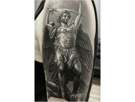 Realiam  St Michael  Religious  Angel  Realism  Black And Gray   Statue Black Grey Arm