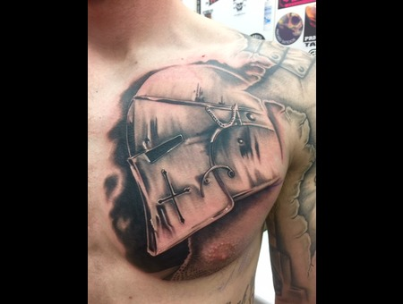 Realism  Black And Grey  Helmet   Black Grey Chest