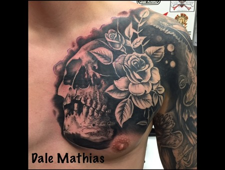 Black And Grey  Realism  Skull   Black Grey Chest