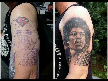 Jimi Hendrix  Cover Up Black Grey Arm