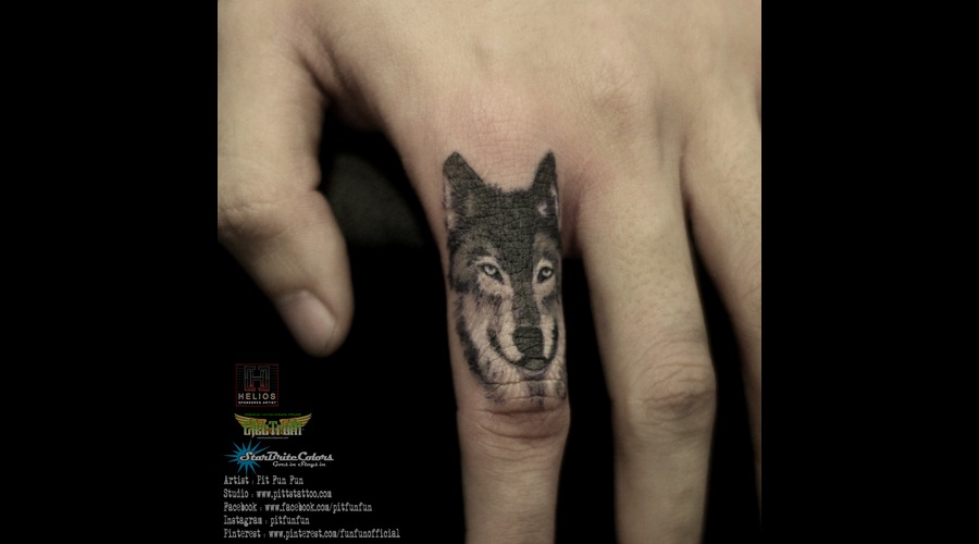 Wolf Portrait On Finger By Pit Fun Color