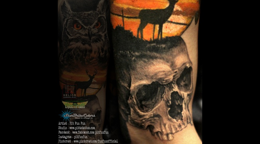 Closed Up Image Of The Skull By Pit Fun Color Arm