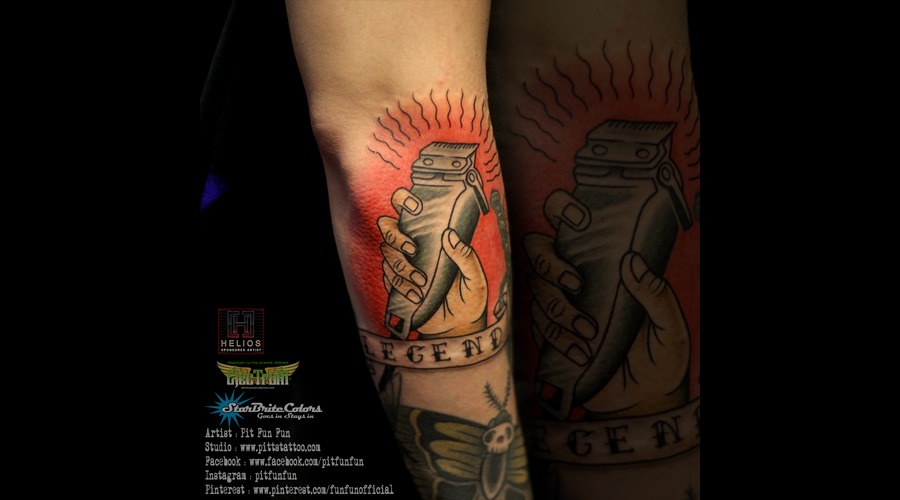 Tradisional Hairclipper Tattoo By Pit Fun Color