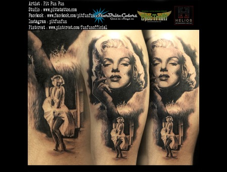 Black And Grey Realistic Marilyn Monroe Portrait By Pit Fun Black Grey Arm