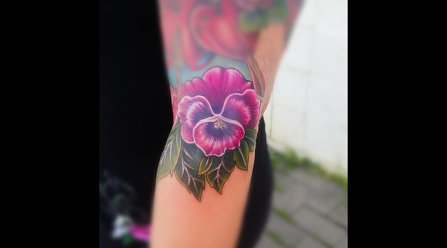Pansy  Flower  Color  Canadatattoo Color Forearm