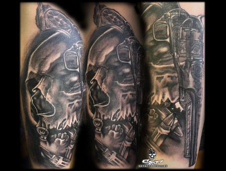 Nobody`s Bullet Proof... Black Grey Forearm