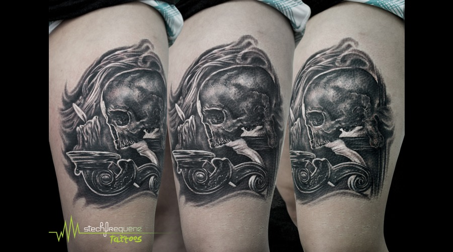Skull  Candle  Dark  Smoke  Wind  Blackandgrey Black Grey Thigh