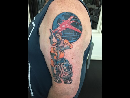 Star Wars  Pinup  Princess Leia  R2d2  Xwing  Death Star   Color Arm