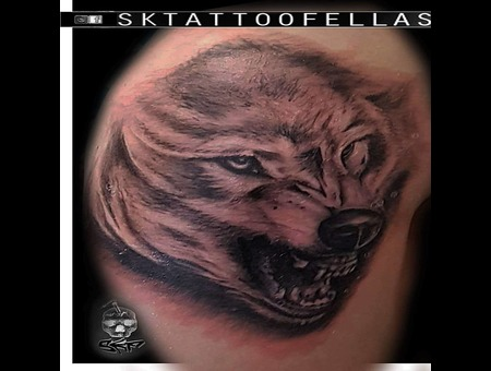 Black And Gray Wolf Tattoo ... Black Grey Arm
