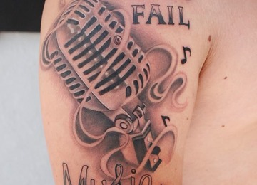 microphone, music, black and grey
