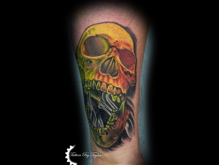 Skull  Color  Cover Up Color Forearm