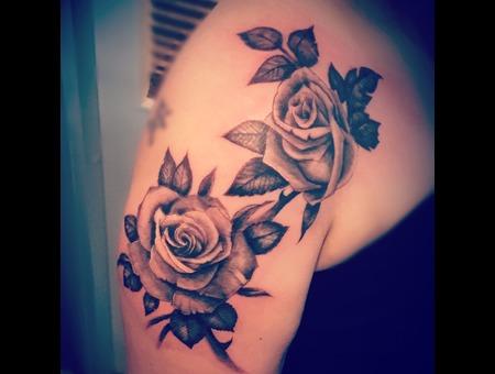 Rose Tattoo Black Grey Shoulder