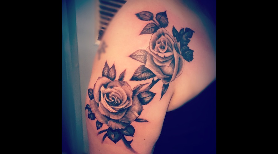 Rose Tattoo Black Grey Shoulder
