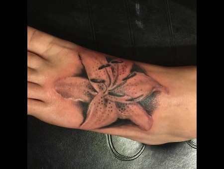 Foot Tattoo  Lily Tattoo  Lily  Black Grey Foot