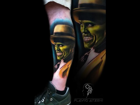 Realistc  Realistic Tattoo  Coloured  The Mask  Jim Carrey  Film  Heroes  Color Lower Leg