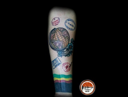 Old School   Globe   Travel   Visa Stamps  Color Forearm
