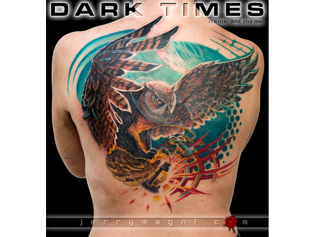Owl  Lantern  Night  Tattoo  Back  Flying Color Back