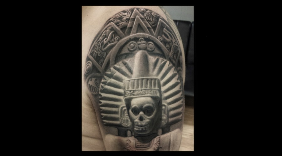 Black And Gray   Realism  Aztec Black Grey Arm