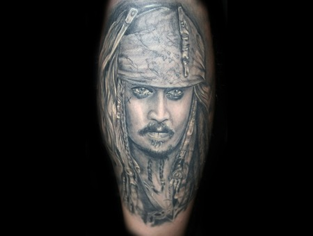 Jack Sparrow Tattoo Portrait Realistic Black Grey Black Grey Lower Leg