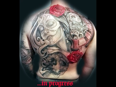 Woman Portrait Skul Lclock Realistic Roses Backpiece Color Back