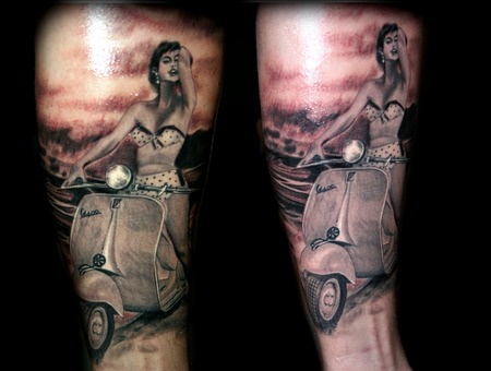 Vespa Tattoo Girl Realistic Background Lake Bikini Pinup Motorbike 60's Black Grey