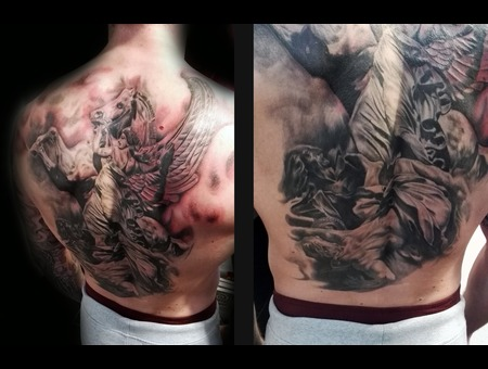 Stone Statue Horse Greece Tattoo Realistic Backpiece Black Grey