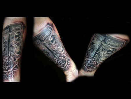 Realistic Camera Rolleiflex Tattoo Detailed Black Grey