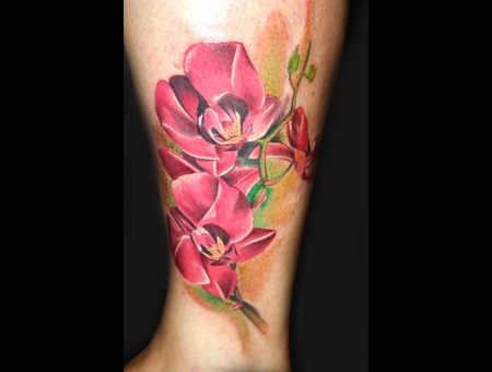 Orchids Realistic Color Tattoo Flower Leg Color Lower Leg