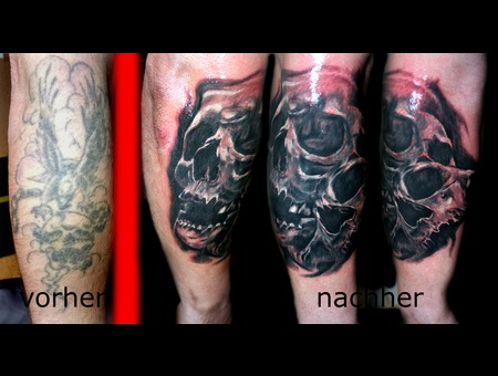 Cover Up Skulls Black Grey Forearm