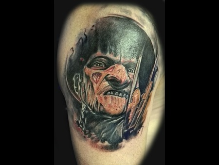 Freddy Kruger Portrait Tattoo Horror Color Arm