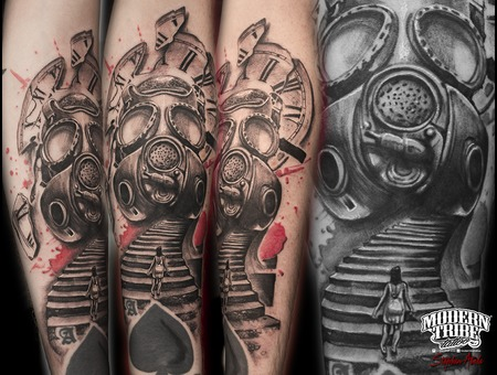 Gas Mask  Clock Black Grey Forearm