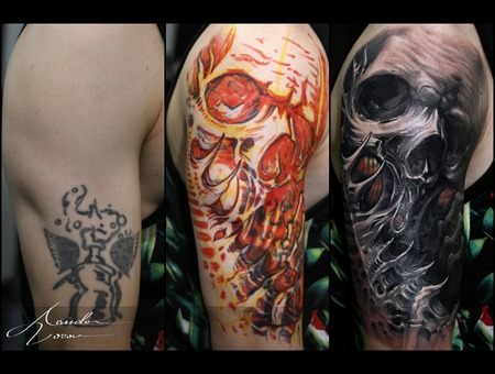 Cover  Coverup  Skull  Organic Black Grey Shoulder
