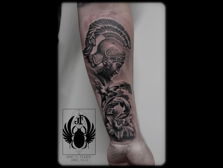 Warrior Black Grey Forearm