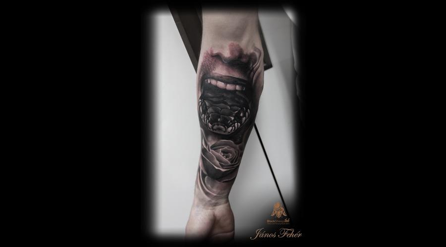 Snake Black Grey Forearm