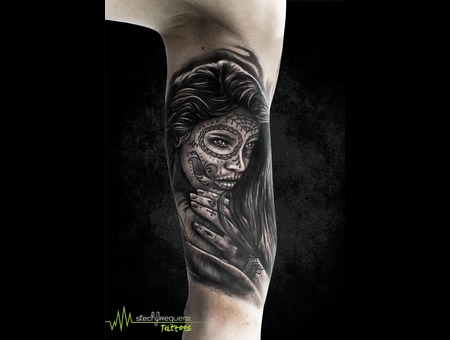 La Catrina  Catrina  Muerte  Realistic  Black And Grey Black Grey Arm
