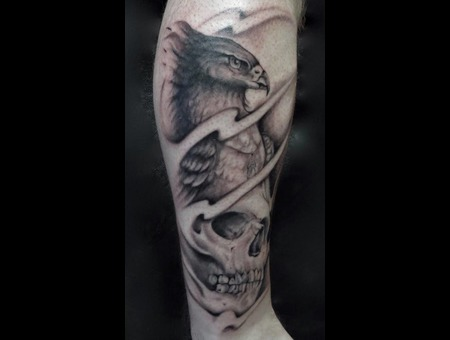 Phoenix Skull Tattoo Black Grey Lower Leg