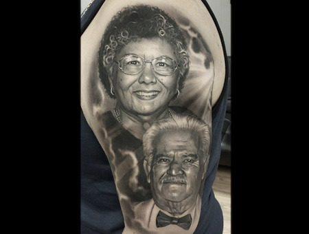 Black And Grey  Portrait  Memorial  Sleeve Black Grey Arm