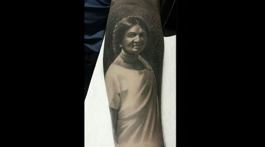 Portrait   Black And Grey  Realism  Henna Black Grey Forearm