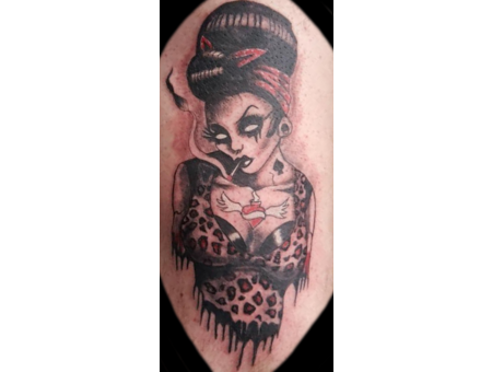 Zombie  Lady  50's  Smoking  Dead  Tattooed Color Thigh
