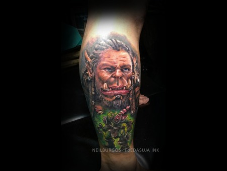 Durotan  Warcraft  Frostwolfclan  Dota  Realism  Cebu  Tattoo  Cebu Artist  Color Lower Leg