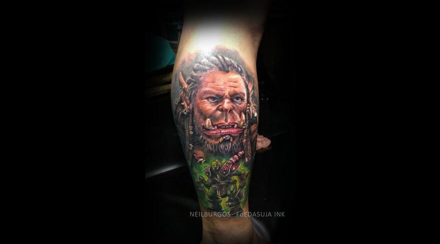 Durotan  Warcraft  Frostwolfclan  Dota  Realism  Cebu  Tattoo  Cebu Artist  Color Lower Leg