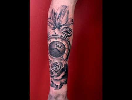 Lily  Pocket Watch  Rose Black Grey Forearm