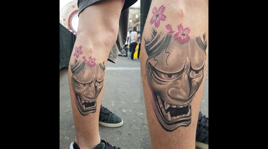 Hannya Mask  Japanese  Cherry Blossoms  Done @The Great British Tattoo Show Color Lower Leg