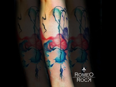 Color  Aquarelle  Watercolor  Abtract  Awesom  Tattoo  Tattooed  Artis Color Arm