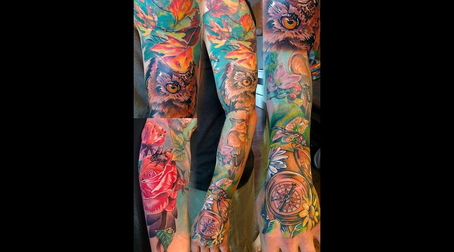 #Fullsleeve #Color #Realistic #Owl Owl Flower Natural #Flower #Natural Color Arm